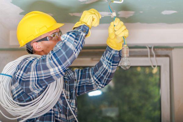 Caucasian Electrician at Work